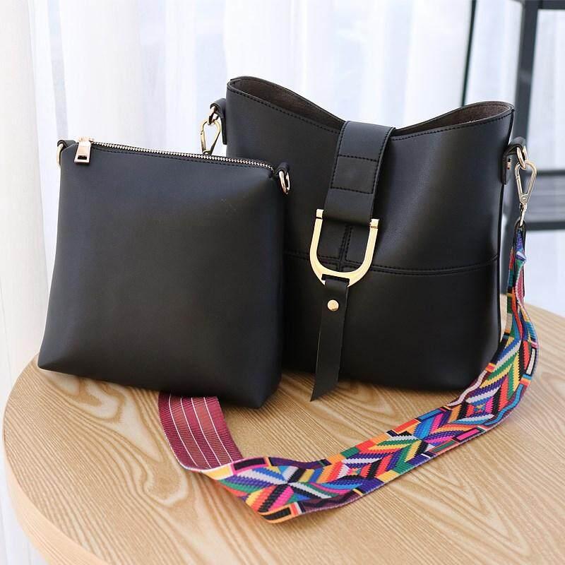 c6303aa55c54 Lulugift stitching buckle 2 in 1 handbags Korean version of the wild  bucket-type single-shoulder diagonal ribbon