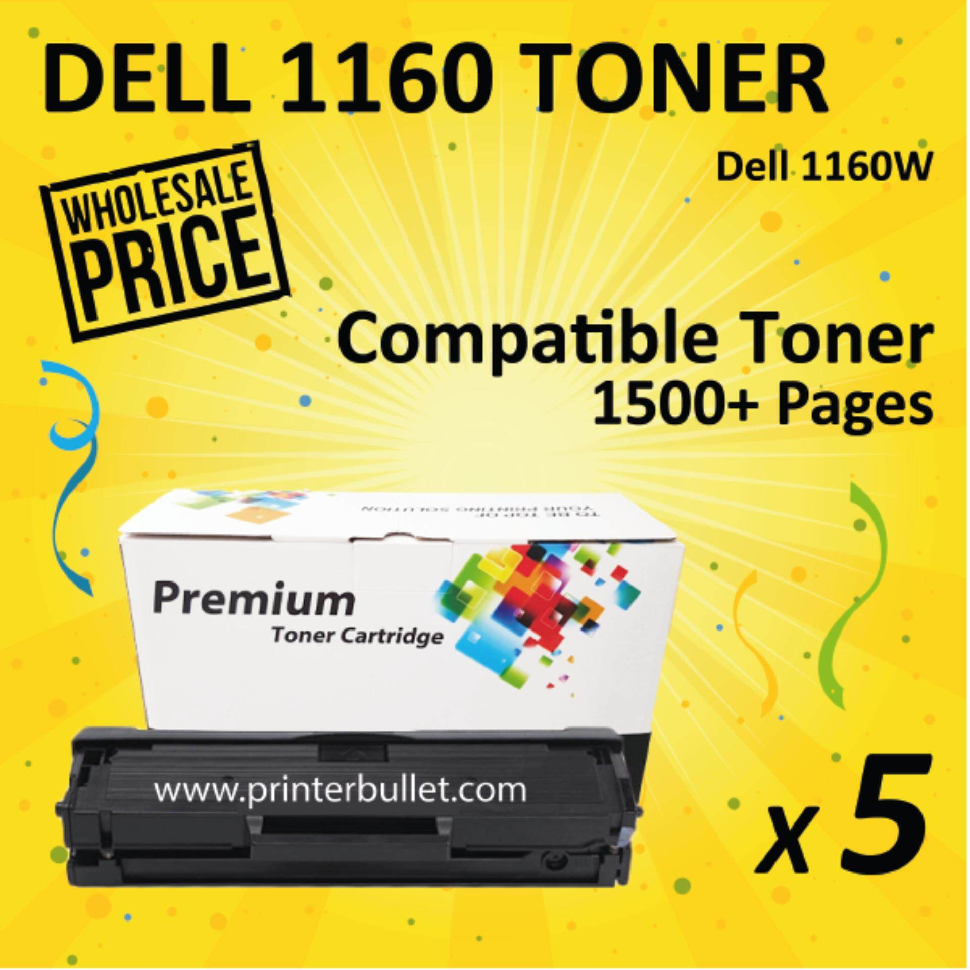 5 unit Dell B1160 / B1160w / B1163 / B1163w / B1165 / B1165nfw Compatible Laser Toner Cartridge