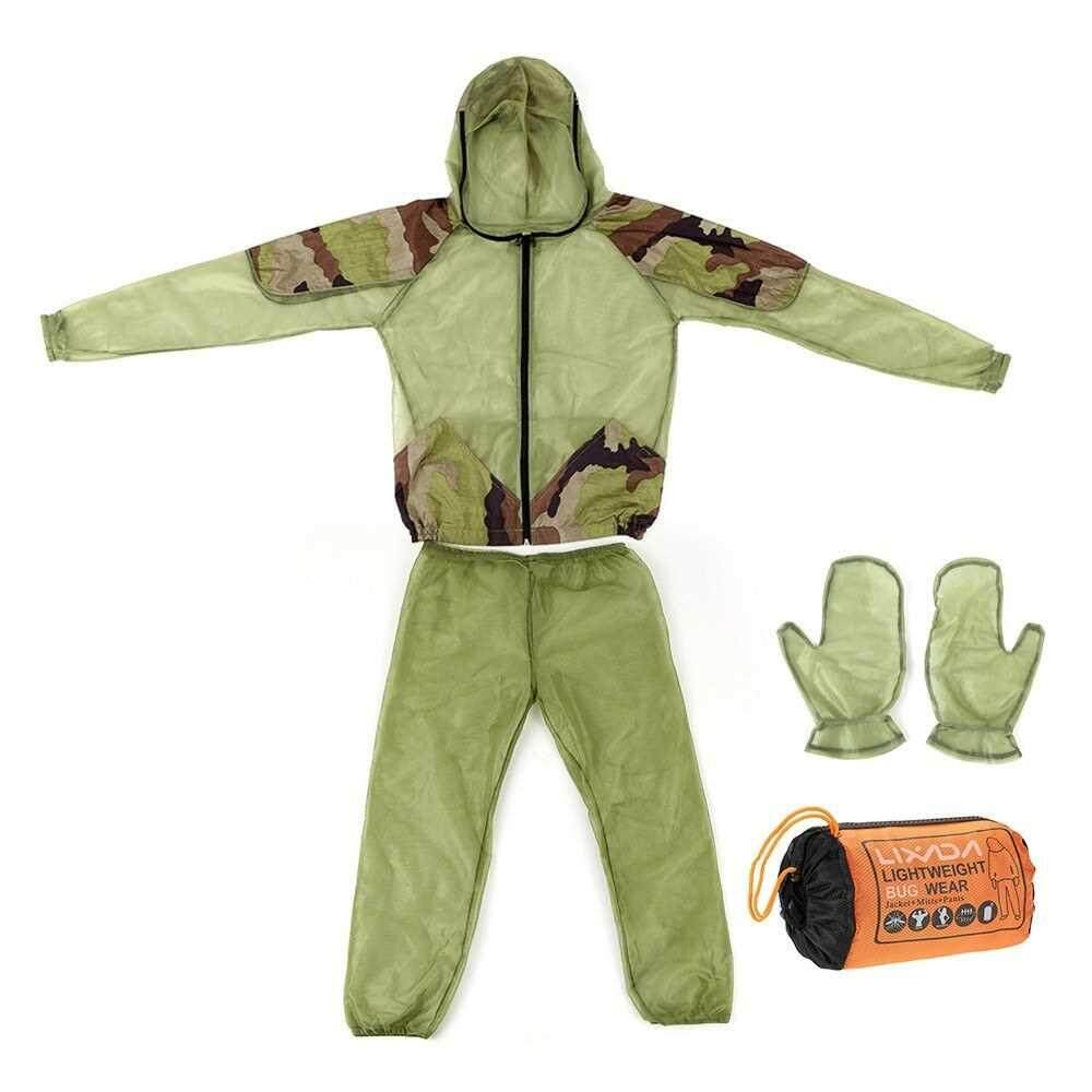 Aspiring Lixada Outdoor Mosquito Repellent Suit Bug Jacket Mesh Hooded Suits Fishing Insect Protective Mesh Shirt Gloves Pants Fishing Apparel