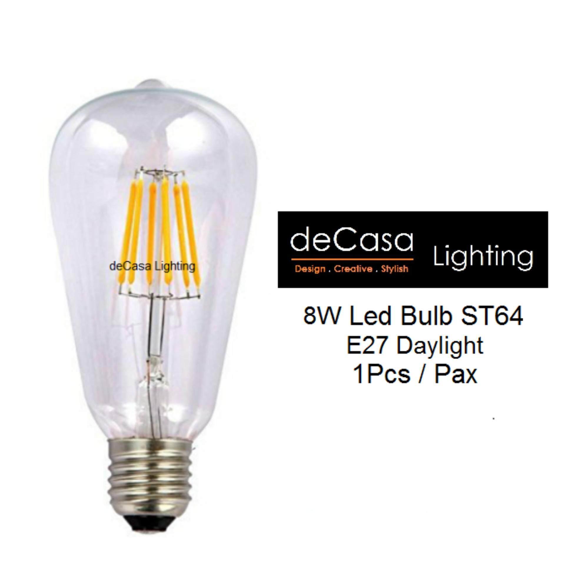 Edison ST64 E27 COB-8watts Daylight / Warm White DECASA EDISON LED BULB- (LY-ST64-8W-E27-WW/DL)