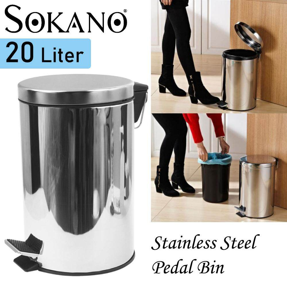Sokano Stainless Steel Dustbin Litter Bin With Foot Pedal And Inner Basket