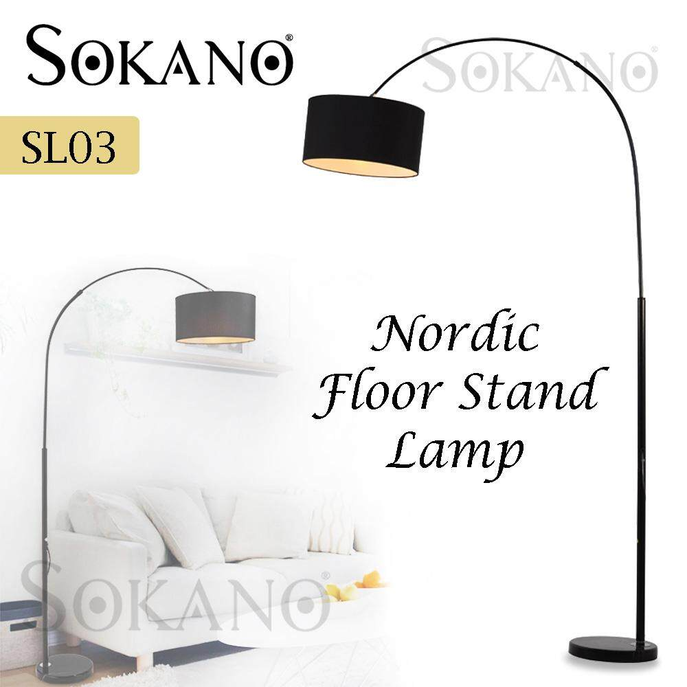 SOKANO SL03 Nordic Floor Stand Lamp Deco Lamp Fishing Lamp for Living Hall Bedroom Office Café Lampu Perhiasan (Free LED Bulb)