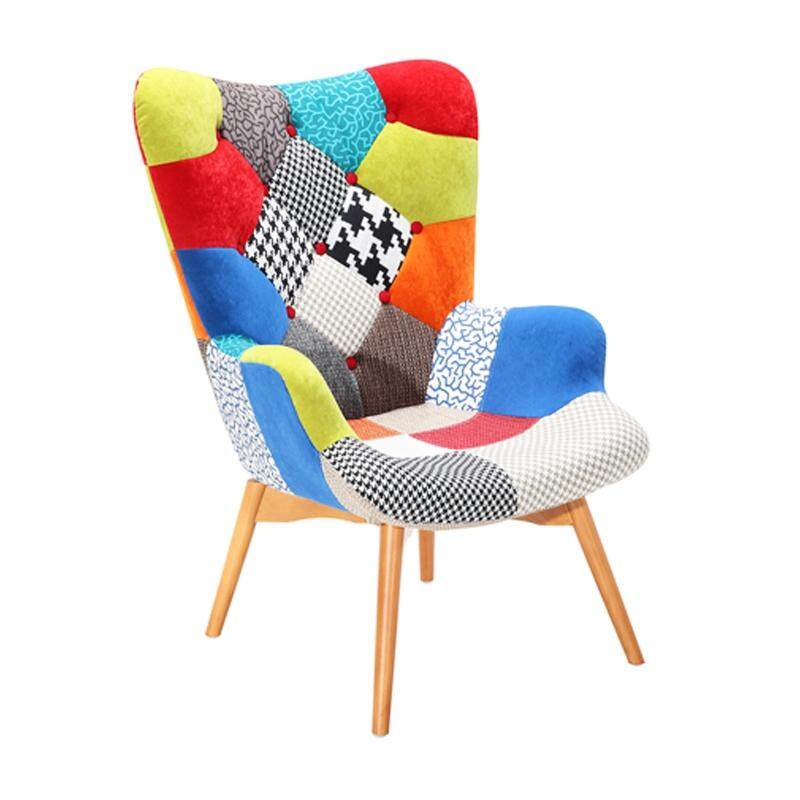 Designer Series G167A Patchwork Fabric Armchair with Beech Wood Legs (Design A)