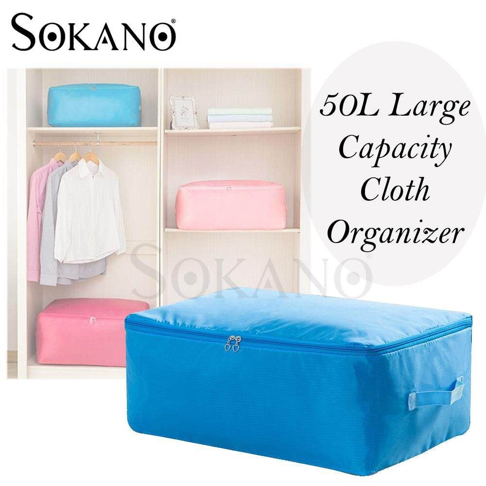 (RAYA 2019) SOKANO 50L Large Capacity Baju Cloth Organizer Laundry Organizer Blanket Bedsheet Organizer Code 58 with Zipper and Handle