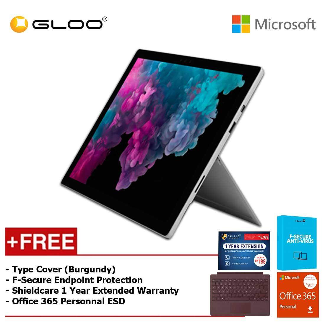 Microsoft Surface Pro 6 Core i5/8GB RAM -128GB + Type Cover Burgundy + Office 365 Personal (ESD) + F-Secure Endpoint Protection + Shieldcare 1 Year Extended Warranty