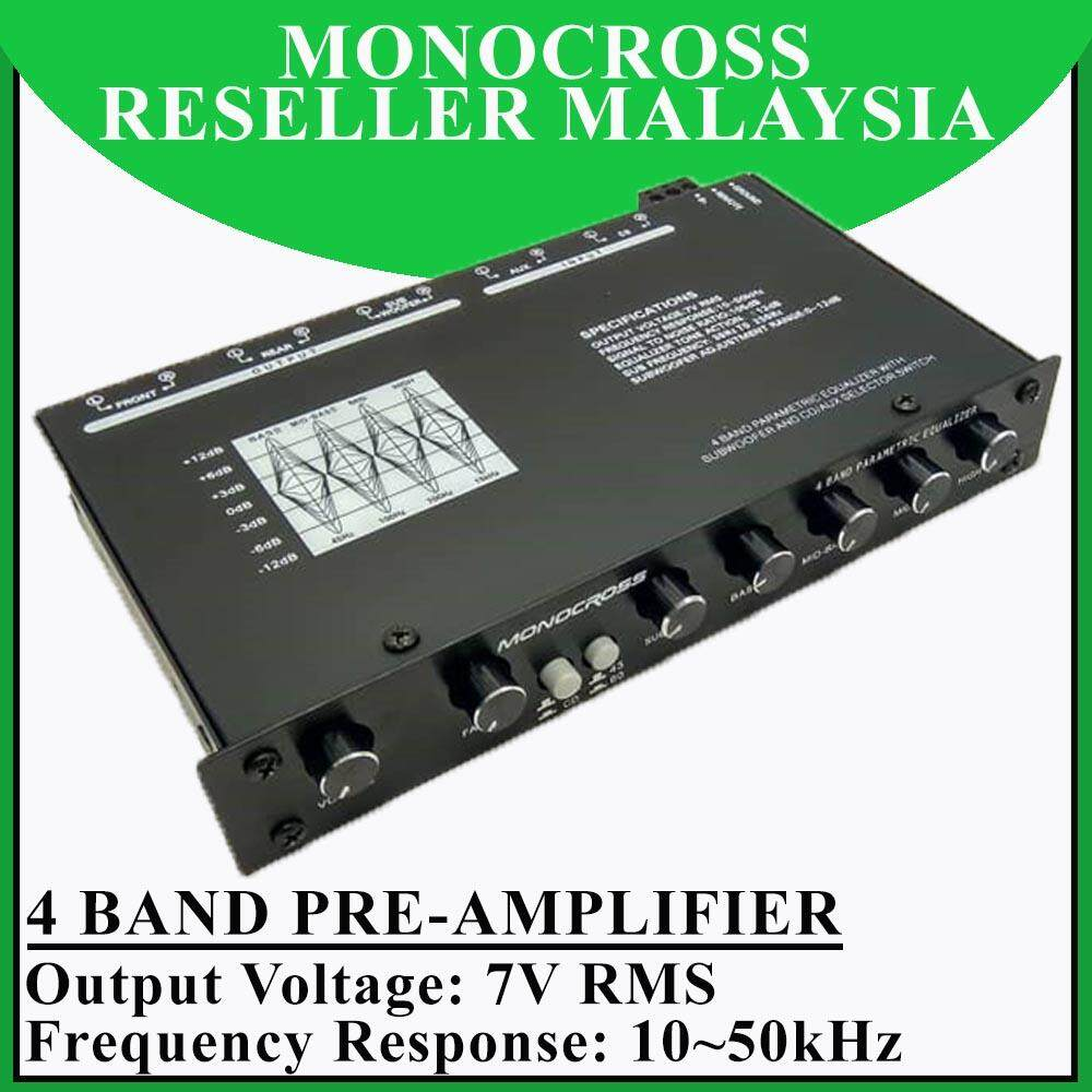 Monocross 4 Band Parametric Pre-Amplifier With Subwoofer Output Car Audio System