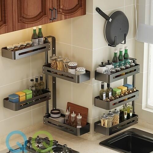 QQ Kitchen Shelf Corner Rotation Seasoning Rack Aluminum Alloy Bathroom Multi-layer Shelf without Hole Wall Hanging Rotary Storage