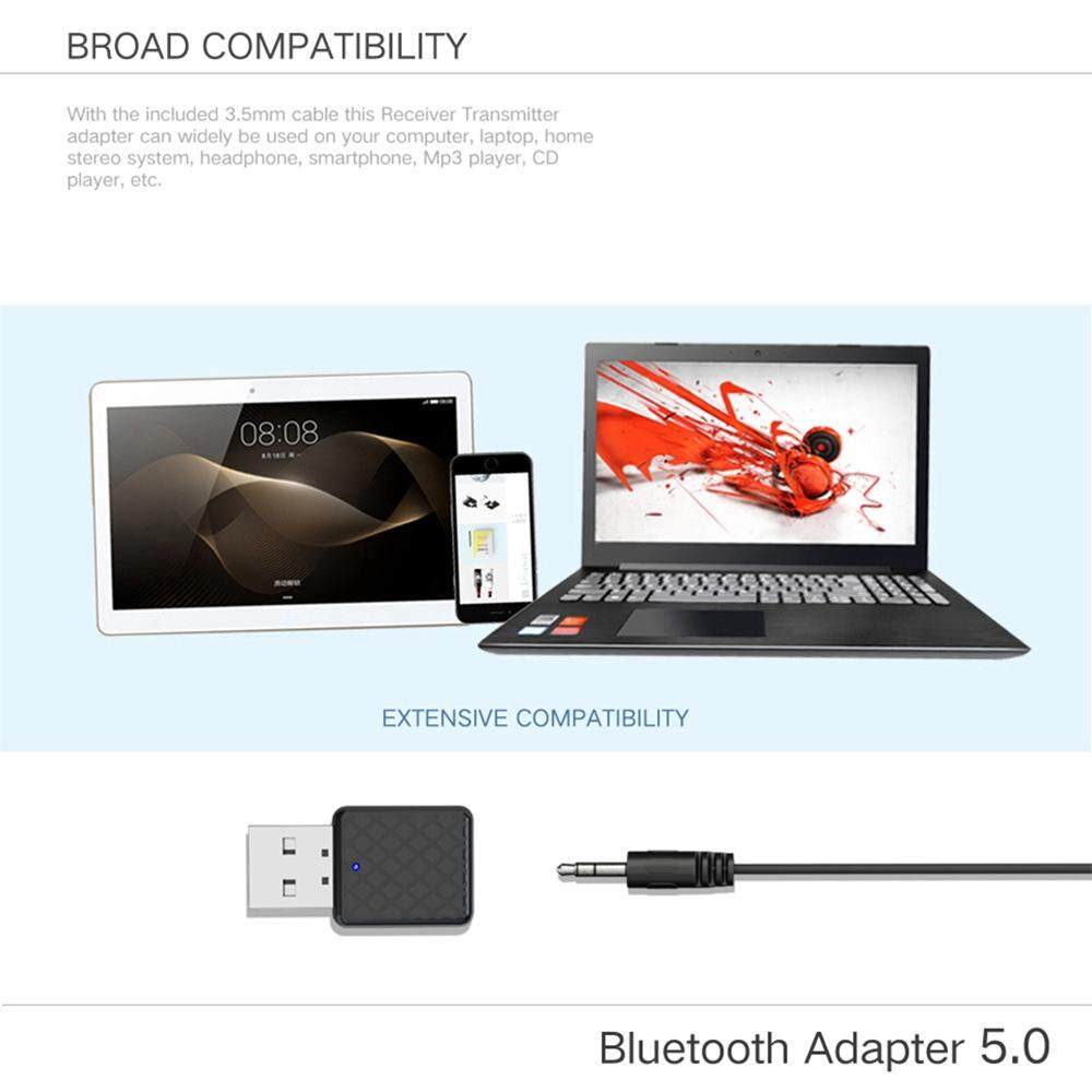 2 in 1 USB BLUETOOTH 5.0 Transmitter Receiver WIRELESS Audio Adapter Aux Cable