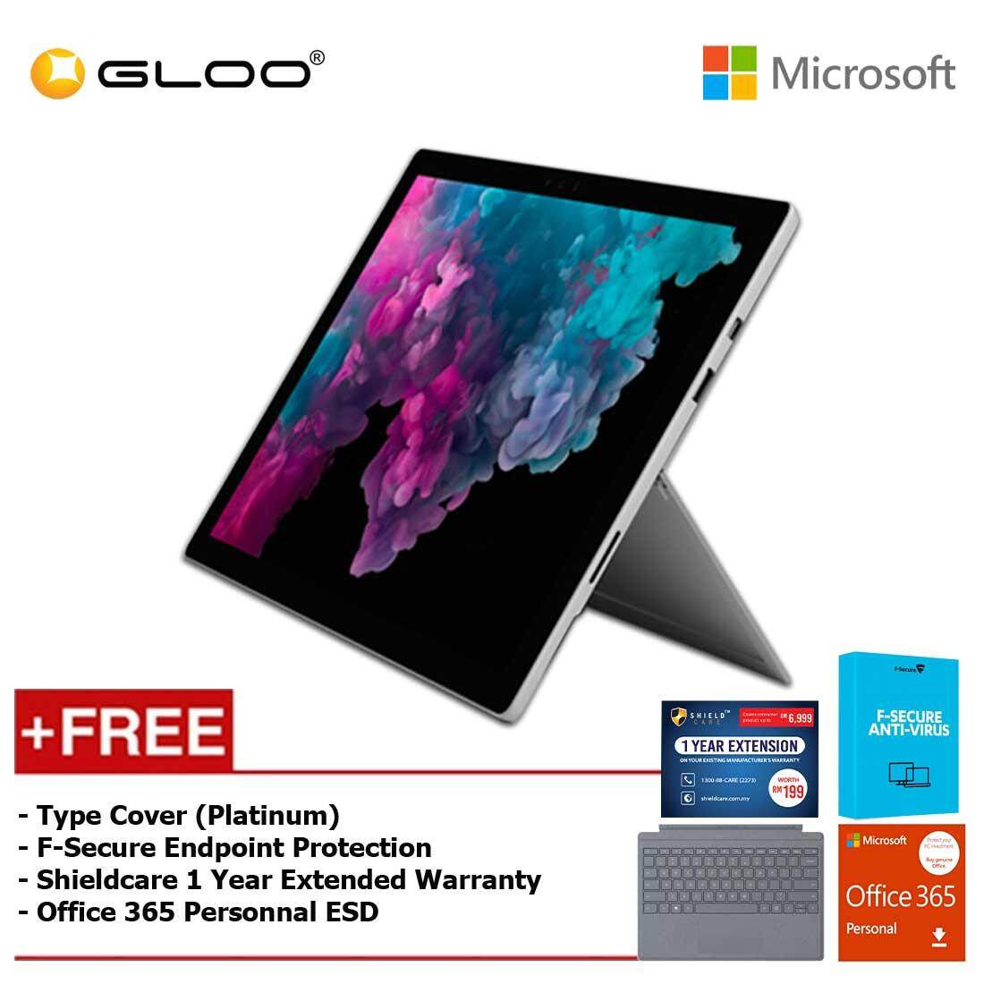 Microsoft Surface Pro 6 Core i5/8GB RAM -128GB + Type Cover Platinum + Office 365 Personal (ESD) + F-Secure Endpoint Protection + Shieldcare 1 Year Extended Warranty