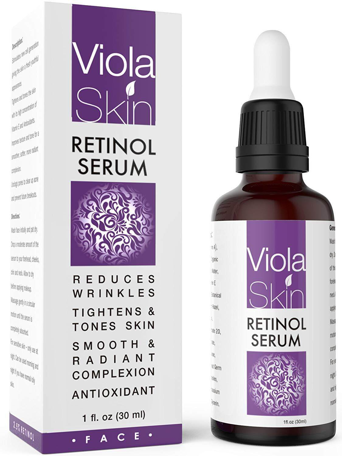 ViolaSkin PREMIUM Retinol Face Serum with Hyaluronic Acid & Vitamin E, Anti Aging Retinol Serum for Wrinkles, Fine Lines & Sensitive Skin, Hydrate & Brighten your look!