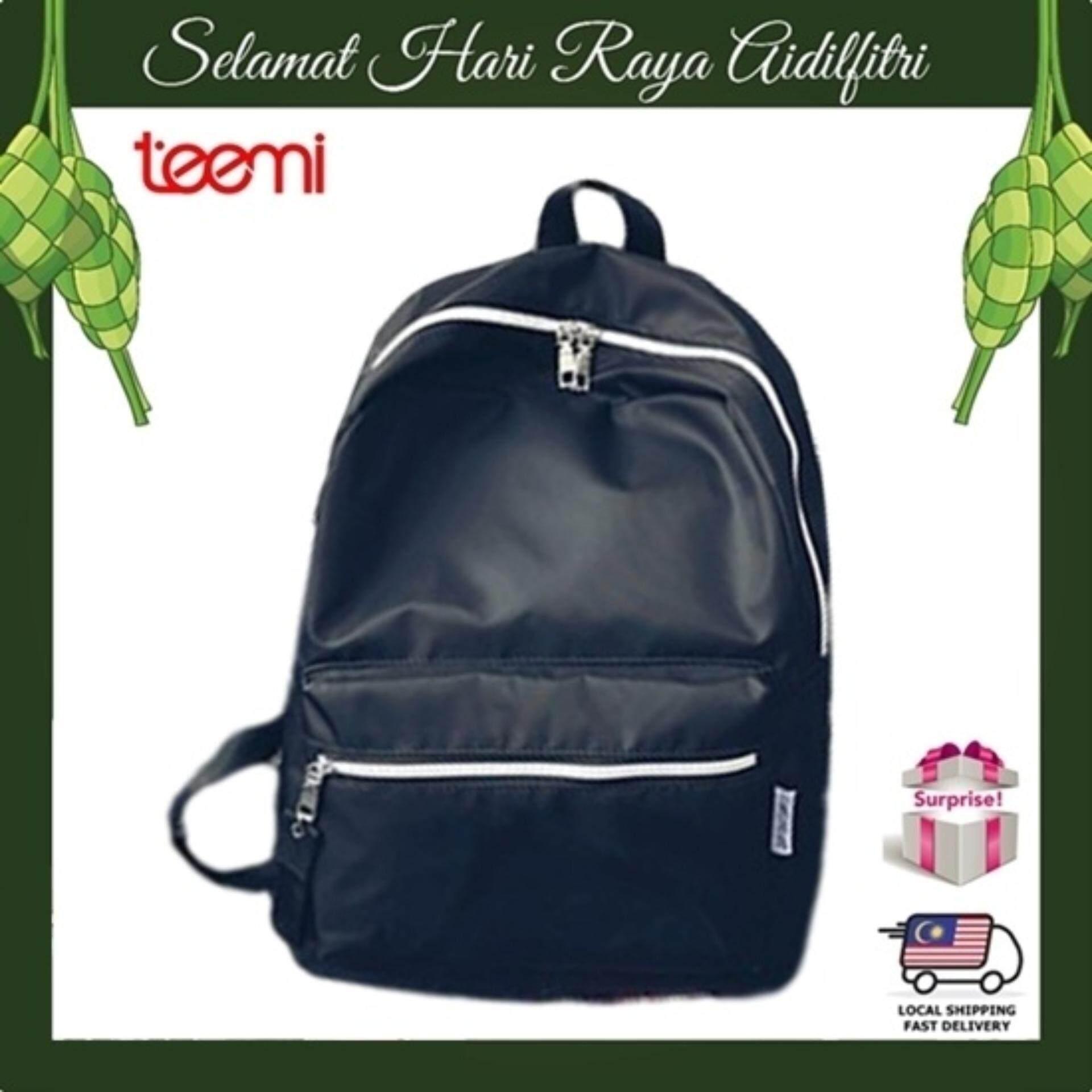 TEEMI Unisex Fashion Travel Leisure Bag Water Resistant Nylon Backpack - Black