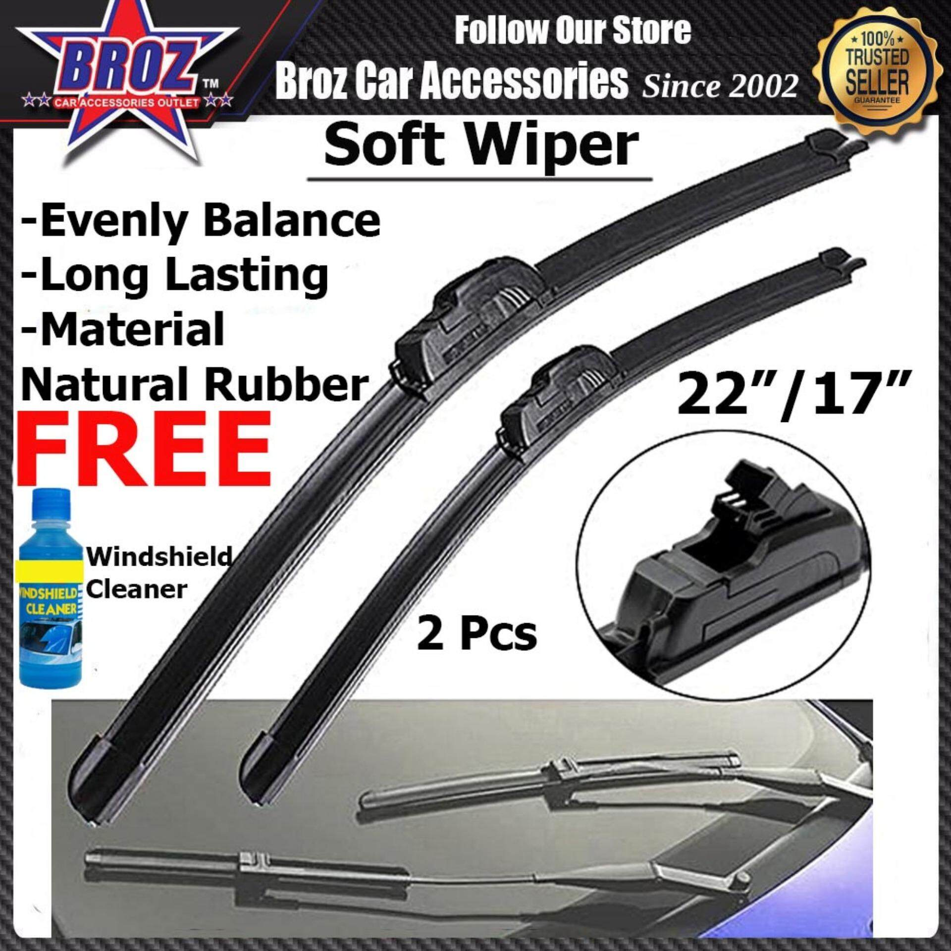 "Saga Fl/BLM/FLX Suzuki Swift Mazda 2 2015-2019 Car Natural Rubber Soft Wiper 22""/17"" 2pcs"