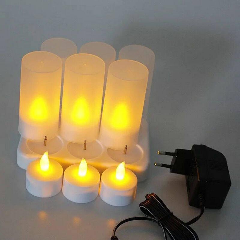 Thiết Lập Của 4 Frosted Không Lửa Sạc Lại Được Nến Đèn Trà LED Candle W/Difused Vàng Mã Đèn Xmas Tiệc Cưới 110 V/220 V Tùy Chọn-Hổ Phách