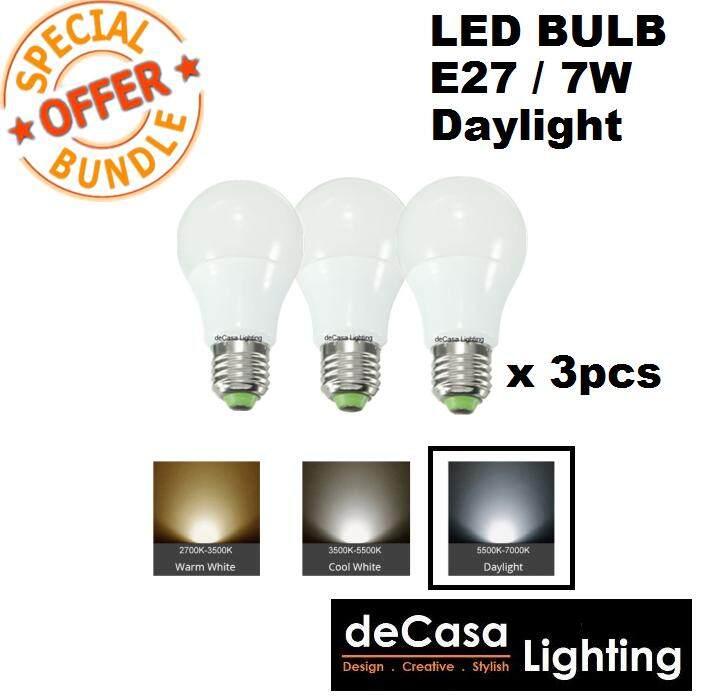 Bundle 3pcs 12W Led Lamp Bulb E27 Lamp Holder DECASA Globe Bulb Daylight (DCS-MGB-E27-12W-DL)