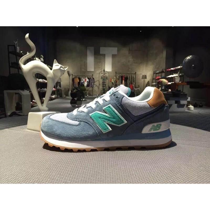 สอนใช้งาน  ลำปาง NEW BALANCE/NB574 WL574PIA สีฟ้าสีน้ำตาลผู้ชายผู้หญิงรองเท้าวิ่งรองเท้ากีฬา