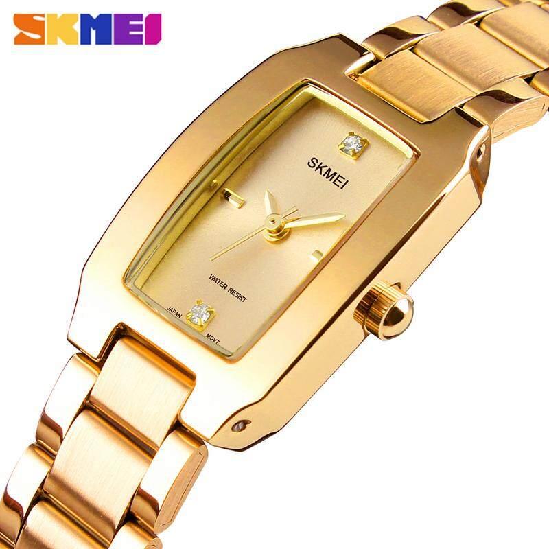 SKMEI TOP แบรนด์หรูแฟชั่นผู้หญิงนาฬิกาสแตนเลสนาฬิกาข้อมือ Casual กลางแจ้งผู้หญิงนาฬิกาควอตซ์กันน้ำ