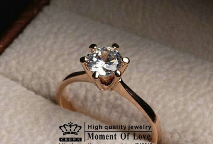 Genuine 18kgp Solitaire Engagement Rose Gold Ring - Clearance Sale Below Cost- FREE SHIPPING