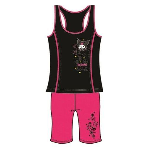 Hong Kong Limited Edition Sanrio Hello Kitty Kuromi Ladies Lycra Material Yoga Suit Vest M Size - Black Colour