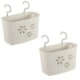 (LZ) Imitation Rattan Hanging Basket Hook Drainer Set of 2- Large (Grey)