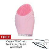 Kingdom Vibrating Facial Cleaner KD-303 Pink Waterproof Ultrasonic Cleanning Brush Silicone Cleansing System Clarisonic + Free WPMO Hair Twist Styling Clip Set