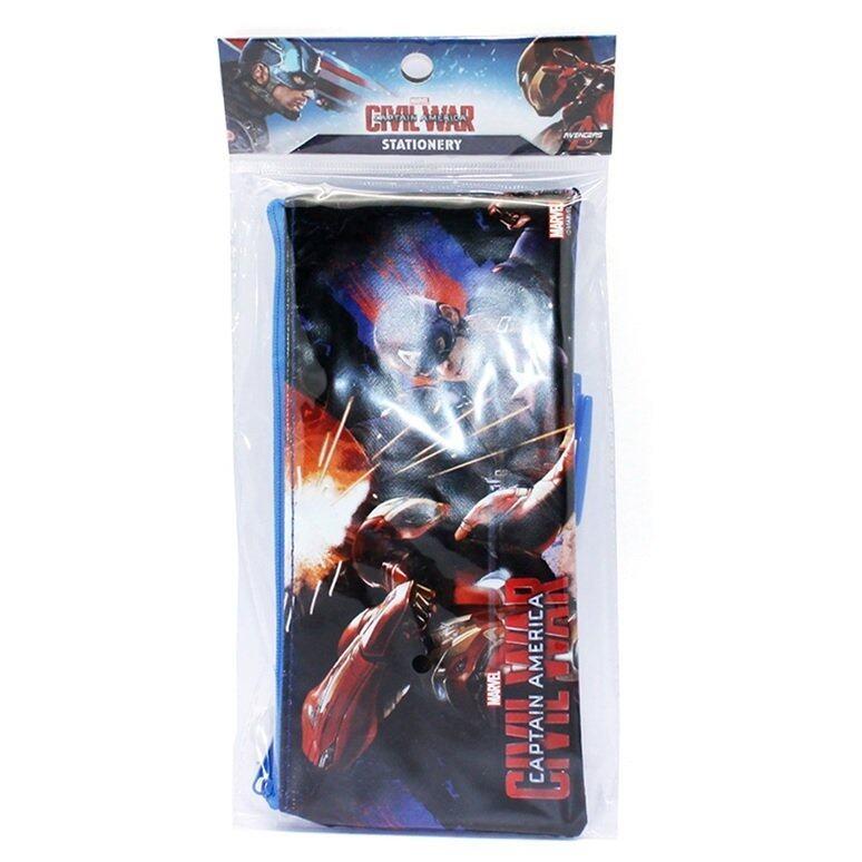 Marvel Avengers Captain America Civil War Stationery Pencil Case Set - Blue Colour