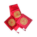 Maylee Classic Pillow Cases 6pcs With a Table Runner Gold Flake Flower Red