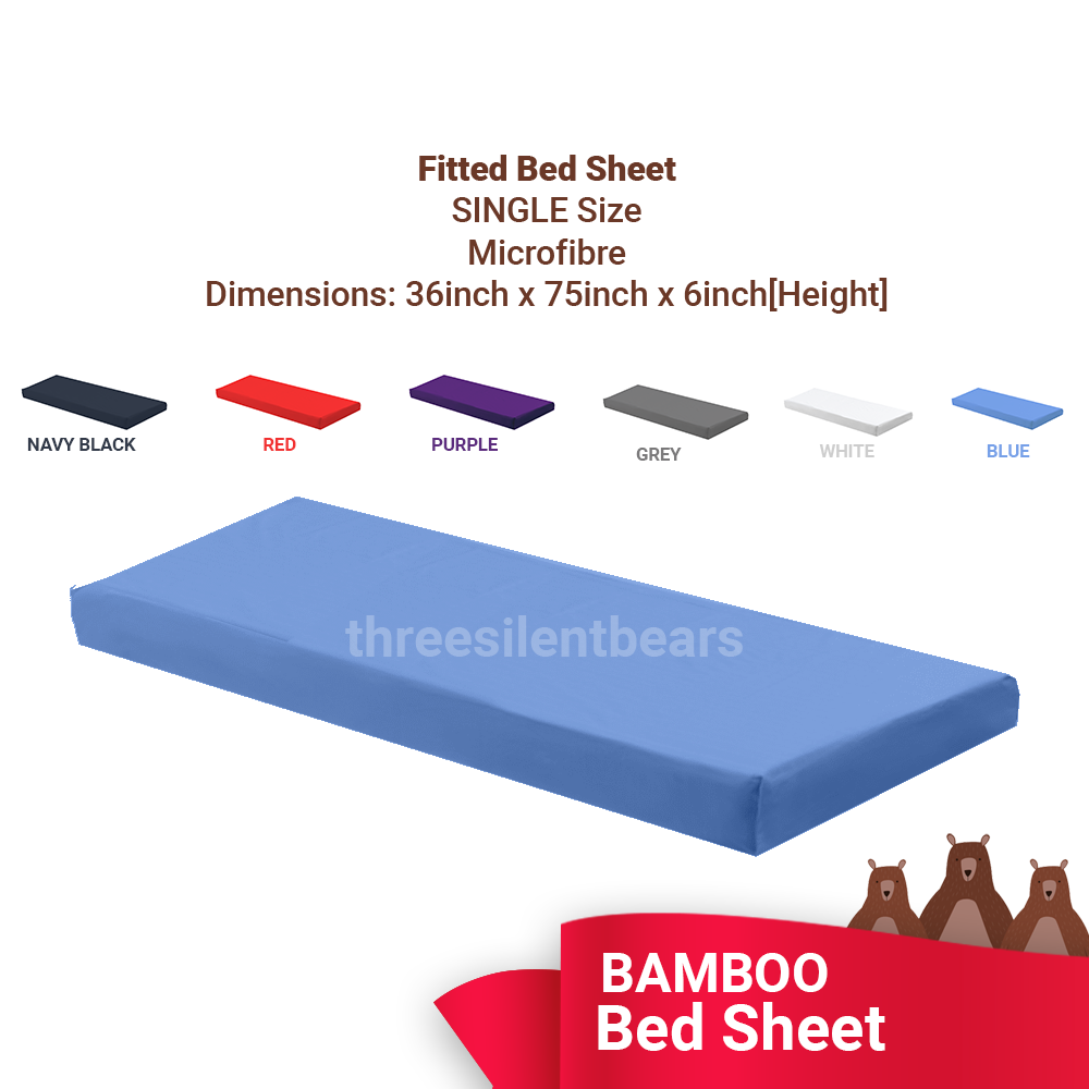 Bamboo Cotton Fabric: SINGLE Fitted Set: Bedsheet and Pillow cover (2-In 1) - *Microfiber* 380 TC ~ LOCAL SELLER
