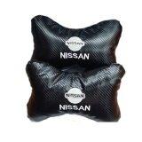 Nissan Carbon Leather Embroidery Logo Car/Auto Head/Neck Rest Pillow (2PCS)