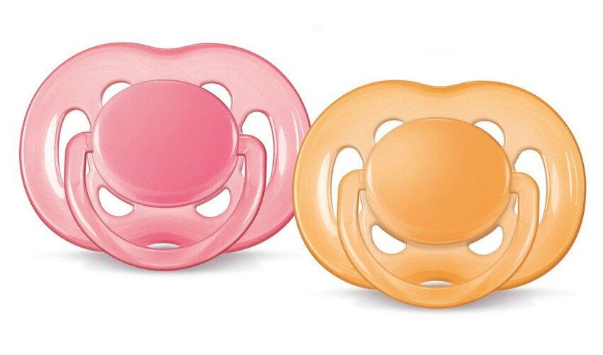 Philips Avent Free Flow Soothers 6-18 Months BPA Free Twin Pack Pink And Orange