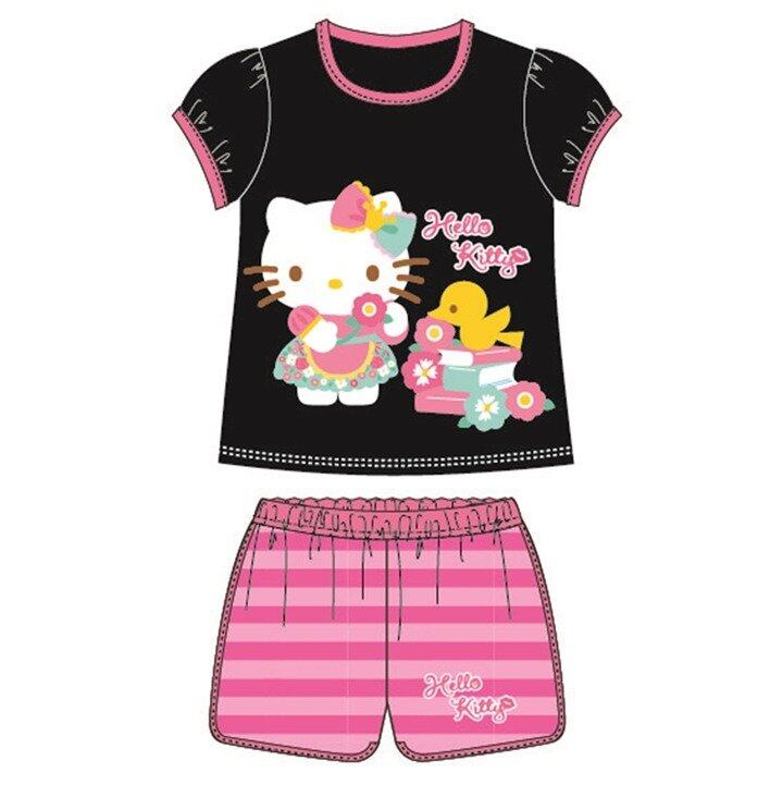 Sanrio Hello Kitty Casual Short Sleeve 95% Cotton 4yrs to 10yrs - Black Colour