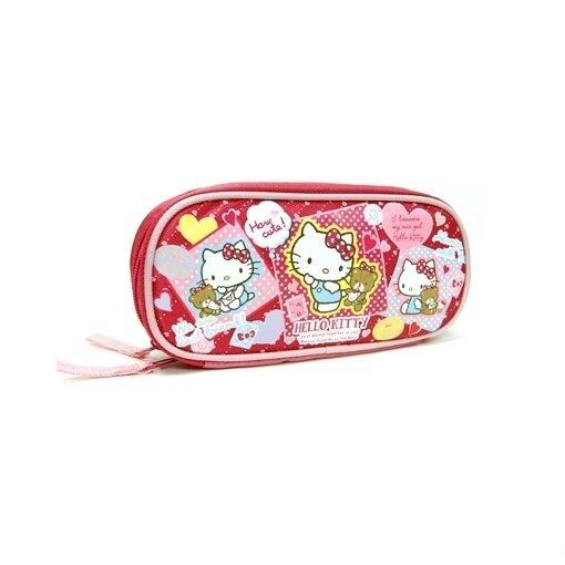 Sanrio Hello Kitty Square Pencil Bag - Red Colour
