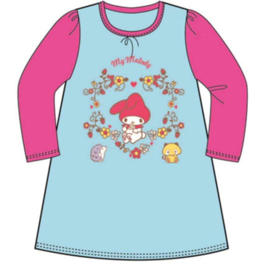 Sanrio My Melody Pyjamas Dress 100% Cotton 4yrs to 12yrs - Blue And Pink Colour