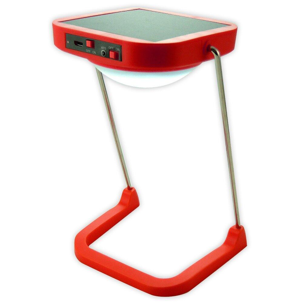 Solar Led Table Lamp With Radio Fm 10 Leds 1500mah Lithium Battery Red