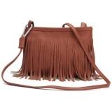 TEEMI Retro Vintage Tassel PU Leather Fringe Crossbody Sling Bag - Brown