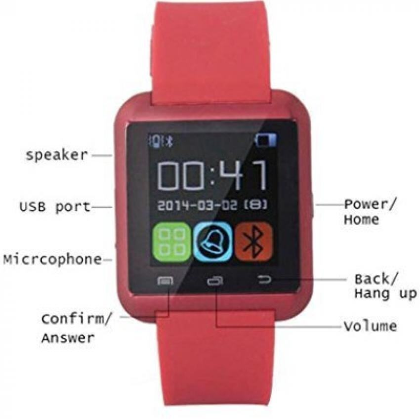 U8 Bluetooth Touch Screen Smartwatch for Ios & Android phone (Red) FREE 1 x LED Watch