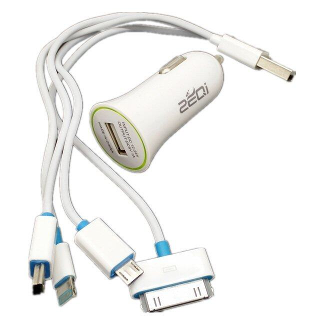 Universal CAR Charger Power 1A Usb Output With Cable For Micro USb /5Pin/All Apple Tab & Phone
