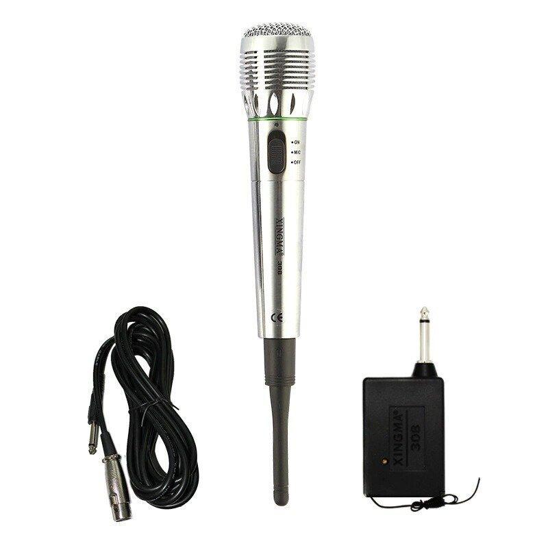 XINGMA AK-308 Wired/Wireless Karaoke Domestic Microphone (Silver)
