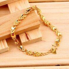 Allwin Vakum Plating 24 KB Emas Perhiasan Gelang Emulational Hati Malaikat