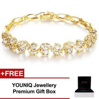 YOUNIQ Crescent CZ 18K Gold Plated Bracelet (White)
