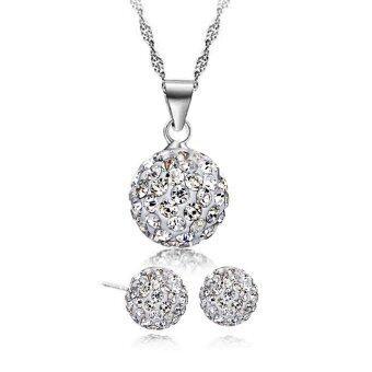 YOUNIQ Korean Fashion 925S Silver Swarovski Elements Necklace Set (White)