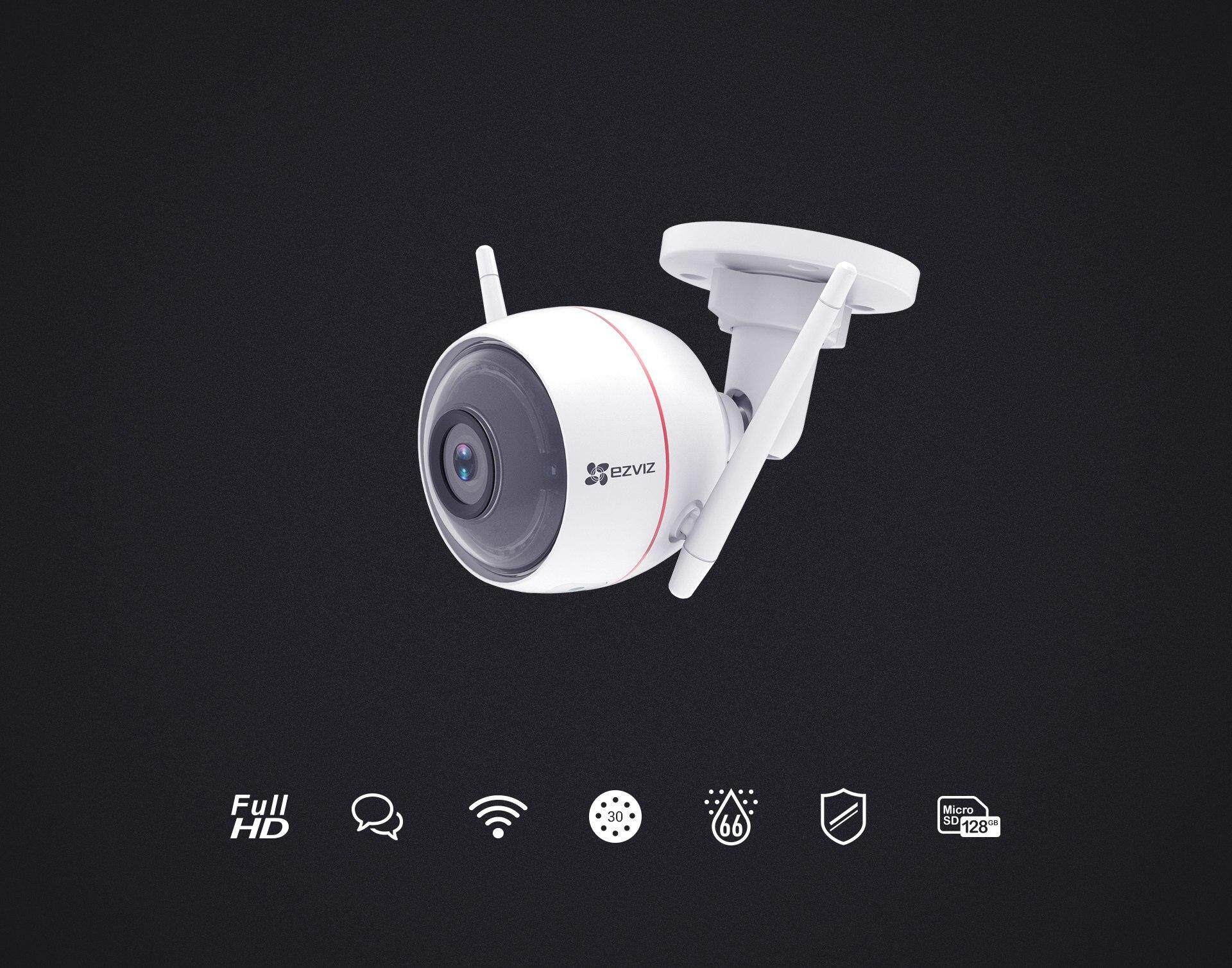EZVIZ Husky Air EzGuard (C3W) 1080p Full HD Outdoor WiFi IP Camera with  Remote Activated Alarm System (White) WKMALL