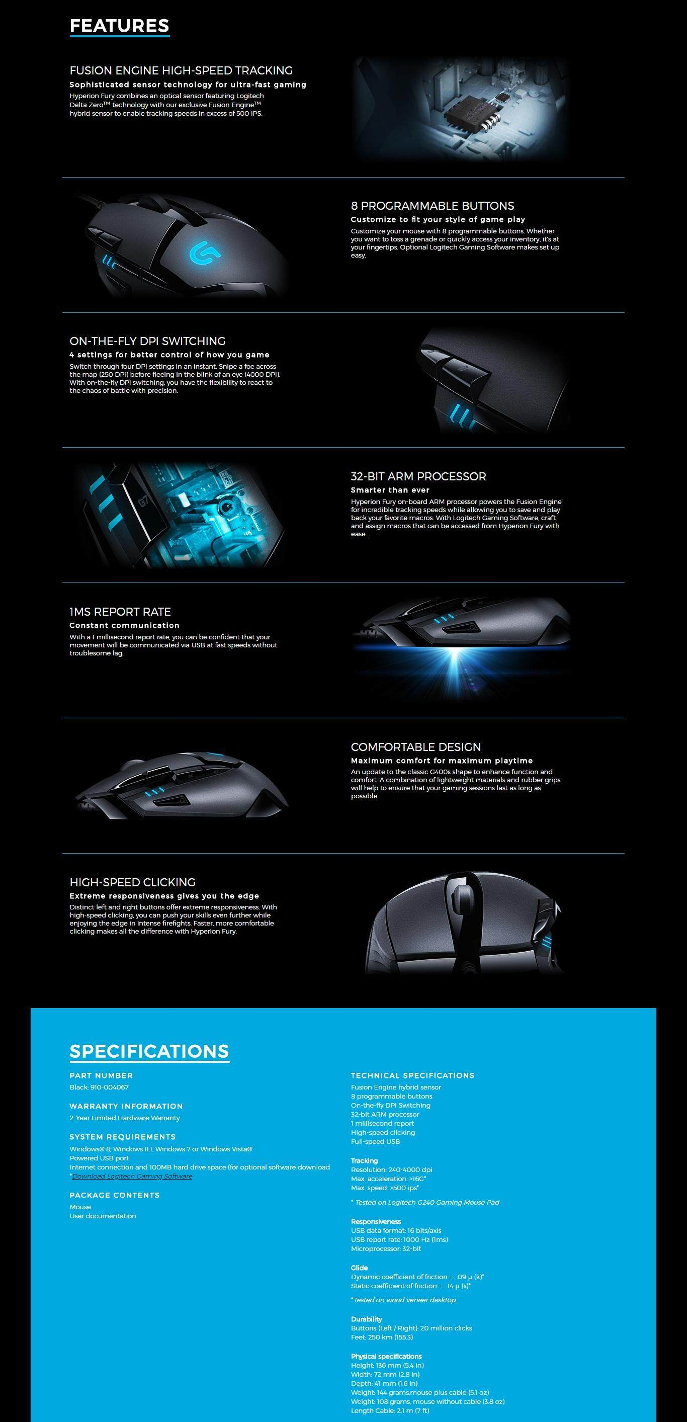 cdd7c7bac83 Logitech G402 Hyperion Fury ULTRA-FAST FPS Gaming Mouse BDZ @ Best ...